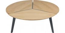 Table basse ronde acier gris plateau chêne démontable