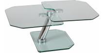 Table basse verre rectangulaire plateaux pivotants