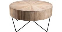 Table d'appoint ronde branches de teck naturel pieds épingles acier noir