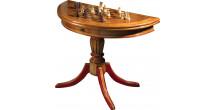 Table de jeu demi lune châtaignier naturel 1 tiroir pieds tournés