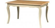 Table de séjour rectangulaire hêtre laque blanc 2 allonges pieds galbés L140