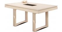 Table rectangulaire chêne massif blanc pierre 2 allonges papillons L185