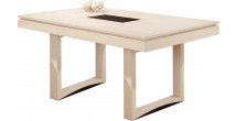 Table rectangulaire chêne massif blanc pierre 2 allonges papillons L200