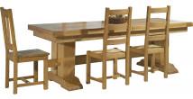Table rectangulaire monastère chêne massif doré 2 allonges L220