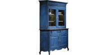Buffet vaisselier chêne massif bleu 2 corps 2 portes pieds galbés - Ambiance