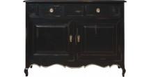 Buffet chêne massif noir 2 portes 2 tiroirs pieds galbés