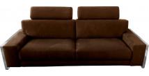 Canapé 3 places microfibre chocolat avec 2 tétières