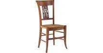 Chaise hêtre massif teinte merisier dossier sculpté assise paille