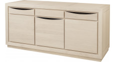 Buffet 3 portes chêne massif blanc pierre 3 tiroirs