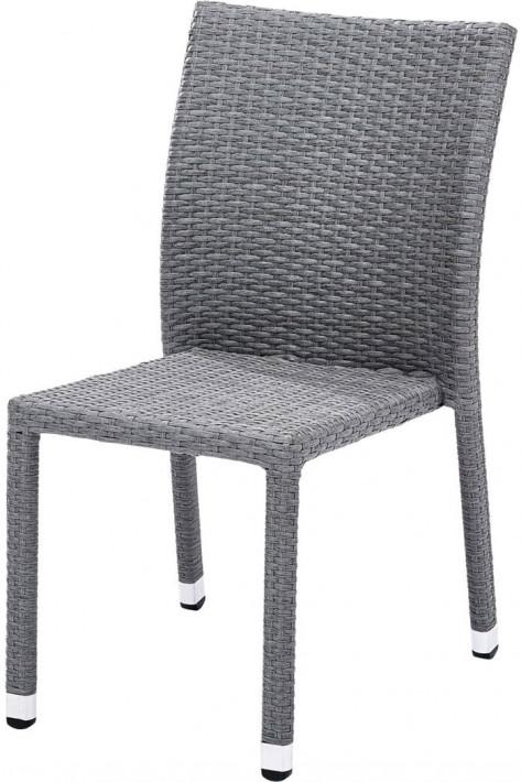 Chaise de jardin Wicker tressé gris