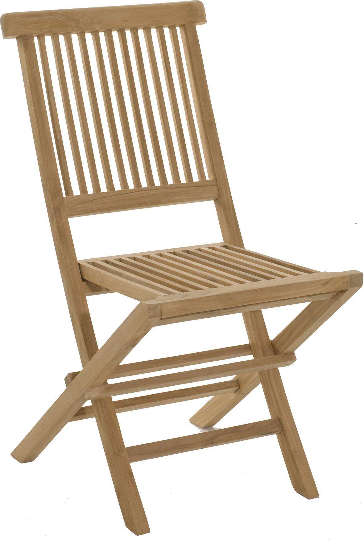 Chaise pliante teck dossier droit