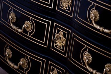 Bureau regence noir bureau ancien rénové laqué en noir bureau